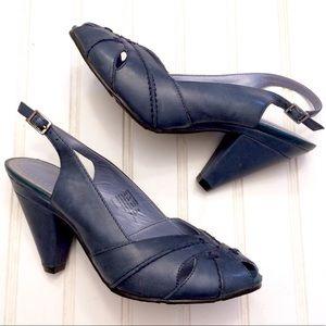 Hush Puppies Arioso blue leather sandal heels